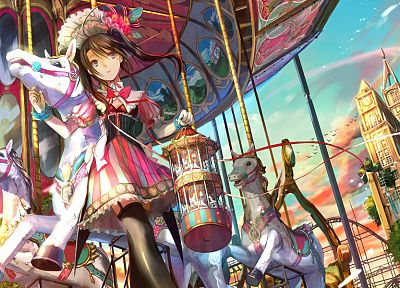 twintails, carousel, Fuji Choko, soft shading, anime girls, original characters - desktop wallpaper