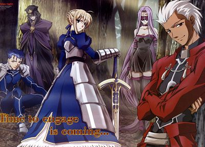 Fate/Stay Night, Saber, Rider (Fate/Stay Night), Archer (Fate/Stay Night), Lancer (Fate/stay night), Caster (Fate/Stay Night), Fate series - related desktop wallpaper