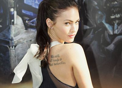 brunettes, tattoos, women, Megan Fox, actress, celebrity - related desktop wallpaper