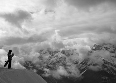 black and white, mountains, snow, snowboarding - random desktop wallpaper