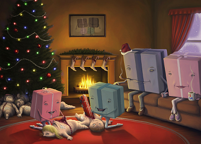 dead, Christmas, disturbing, artwork, Christmas gifts, children, fireplaces - random desktop wallpaper