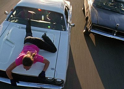 cars, muscle cars, Death Proof, Vanishing Point, Grindhouse, Dodge Challenger, Dodge Charger, girls with cars, Zoe Bell - random desktop wallpaper