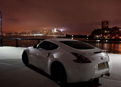 cityscapes, night, cars, Nissan, vehicles, Nissan 370Z, white cars - related desktop wallpaper