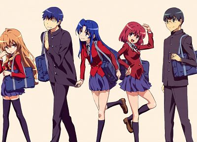 brunettes, redheads, school uniforms, skirts, Aisaka Taiga, Kitamura Yuusaku, Kushieda Minori, glasses, long hair, blue hair, Toradora, black eyes, short hair, thigh highs, Kawashima Ami, anime boys, Takasu Ryuuji, purple eyes, anime girls, black hair - desktop wallpaper