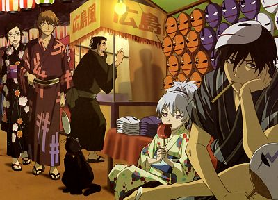 Darker Than Black, Festival, Hei, Kirihara Misaki, Yin, masks, traditional dressing, Mao (Darker Than Black), Yuusuke Saitou, Yutaka Kouno - random desktop wallpaper