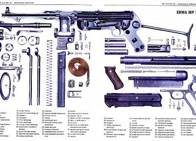 guns, schematic, detailed, mp38, Russian - random desktop wallpaper