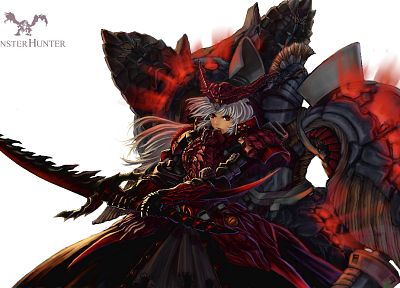 fantasy, video games, weapons, Monster Hunter, armor, red eyes, artwork, anime girls, swords - related desktop wallpaper