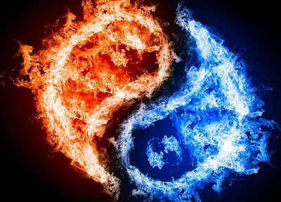 fire, yin yang - random desktop wallpaper