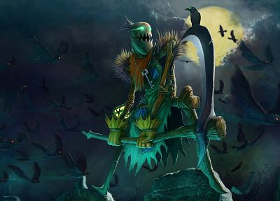 video games, scythe, funny, League of Legends, artwork, Fiddlesticks, crows - desktop wallpaper