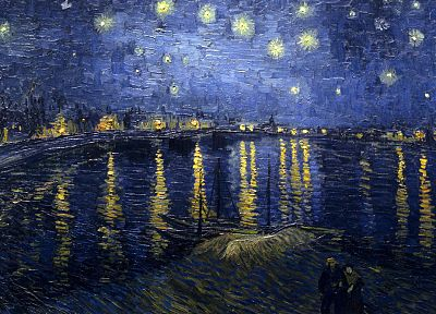 paintings, Vincent Van Gogh, Starry Night Over the Rhone - related desktop wallpaper