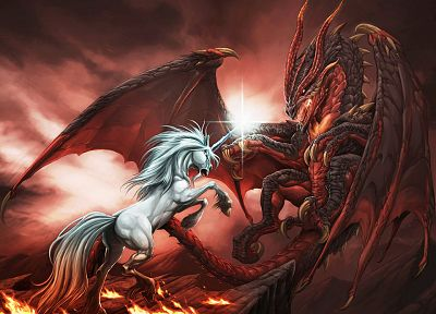 dragons, unicorns, 3D - related desktop wallpaper