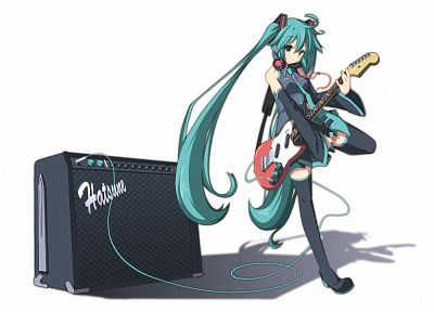 Vocaloid, Hatsune Miku, guitars, simple background, anime girls, detached sleeves - related desktop wallpaper