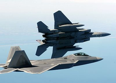aircraft, military, F-22 Raptor, planes, vehicles, F-15 Eagle - desktop wallpaper