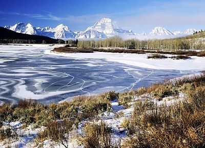 winter, Wyoming, Grand Teton National Park, rivers, National Park - random desktop wallpaper