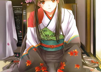 dress, flowers, long hair, red eyes, anime, yukata, Japanese clothes, anime girls - related desktop wallpaper