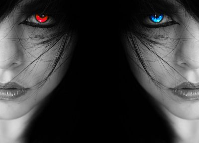 women, eyes, black, dark, blue eyes, red eyes, grayscale, selective coloring, black background - random desktop wallpaper