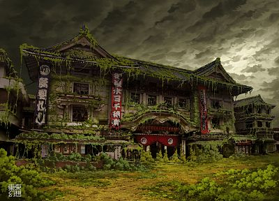 Tokyo, ruins, post-apocalyptic, buildings, artwork, overcast, Asian architecture, Ivy, theatre, abandoned, banners, TokyoGenso - related desktop wallpaper