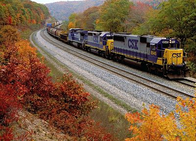 autumn, trains, railroad tracks, vehicles - desktop wallpaper
