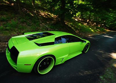 cars, Lamborghini, roads, supercars, countryside, lime green, green cars - related desktop wallpaper