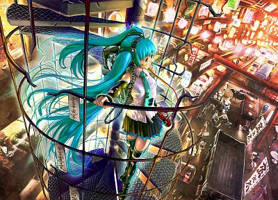 cityscapes, Vocaloid, Hatsune Miku, tie, skirts, buildings, anime girls, detached sleeves - desktop wallpaper