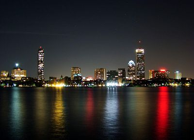 cityscapes, night, buildings, Boston, reflections - desktop wallpaper