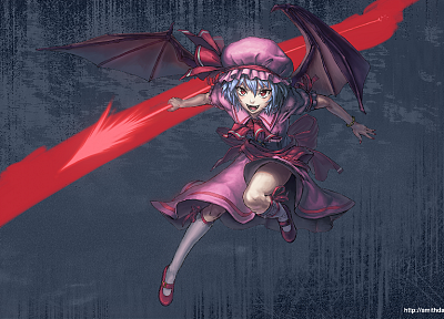 video games, Touhou, wings, dress, ribbons, weapons, socks, blue hair, vampires, red eyes, short hair, bows, open mouth, fangs, bracelets, spears, hats, pink dress, Remilia Scarlet, anime girls, Gungnir, polearm, gray background, bangs, bat wings, white s - random desktop wallpaper