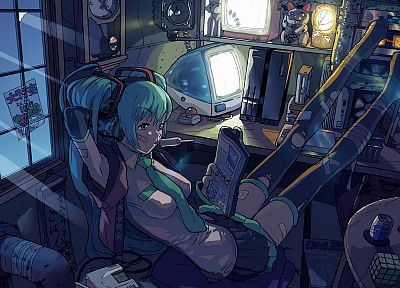 Vocaloid, Hatsune Miku, detached sleeves - random desktop wallpaper