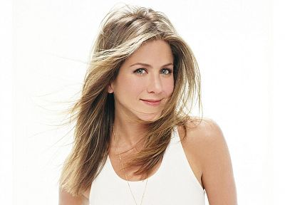 blondes, women, actress, Jennifer Aniston, simple background, white background - desktop wallpaper