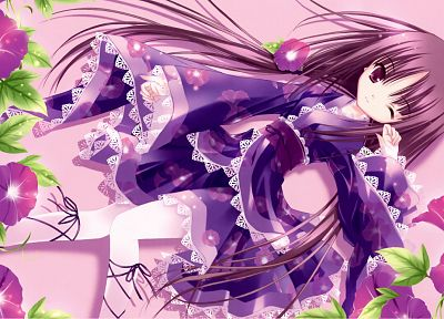 flowers, long hair, purple hair, lolicon, purple eyes, wink, lolita fashion, Tinkle Illustrations, Japanese clothes - desktop wallpaper
