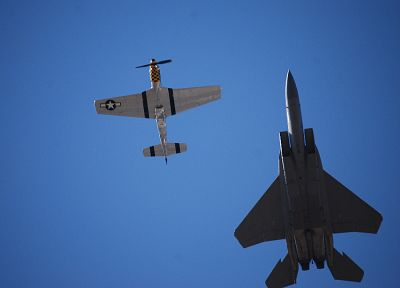 planes, F-15 Eagle, P-51 Mustang - desktop wallpaper