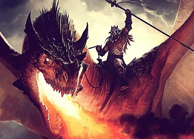 wings, dragons, fire, Magic: The Gathering, magic, artwork, spears, Jason Chan, Kargan Dragonlord - related desktop wallpaper