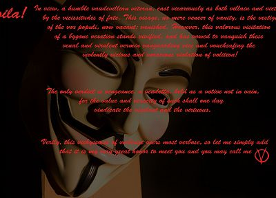 Anonymous, V for Vendetta - desktop wallpaper