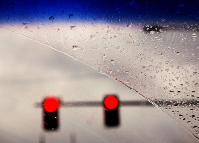 rain, traffic lights, artwork, water drops, rain on glass - related desktop wallpaper