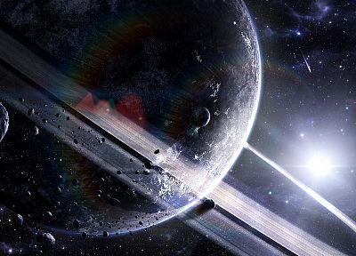 Sun, outer space, planets, rings, asteroids - desktop wallpaper