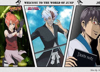 Death Note, Bleach, Naruto: Shippuden, Gintama, parody, anime, crossovers - desktop wallpaper