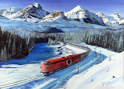mountains, winter, snow, trains, railroad tracks, vehicles - related desktop wallpaper