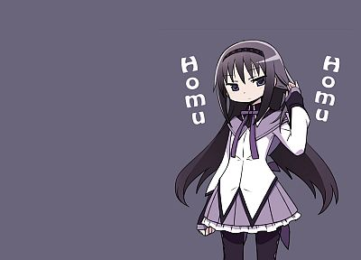 school uniforms, Mahou Shoujo Madoka Magica, anime, Akemi Homura, simple background, anime girls - desktop wallpaper