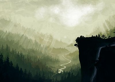 landscapes, forests, valleys, painted, drawings, waterfalls, Cliff - related desktop wallpaper