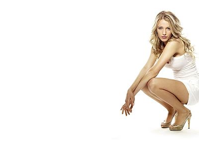 blondes, women, Blake Lively, high heels, white dress, white background - related desktop wallpaper