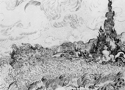 fields, wheat, sketches, Vincent Van Gogh, artwork, drawings - random desktop wallpaper