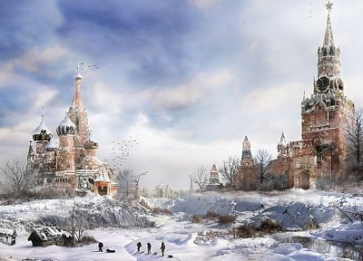 snow, post-apocalyptic, Moscow, artwork, Metro 2033, Kremlin - random desktop wallpaper
