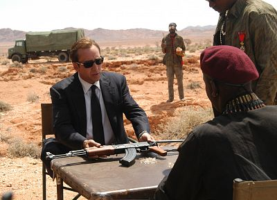 guns, deserts, sunglasses, Lord of War, Nicholas Cage - random desktop wallpaper