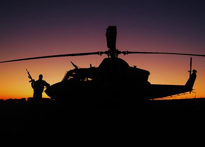 sunset, guns, helicopters, silhouettes, Canada, vehicles - related desktop wallpaper