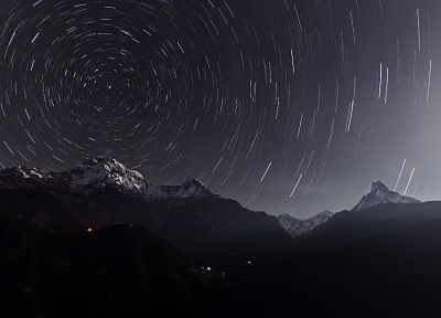 mountains, landscapes, stars, long exposure, skyscapes, star trails - desktop wallpaper