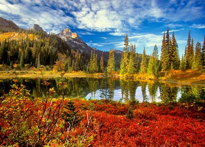 water, mountains, clouds, landscapes, nature, trees, autumn, lakes, reflections - related desktop wallpaper