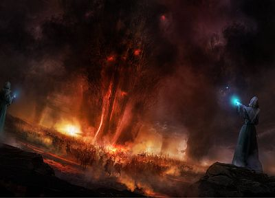 war, dark, army, smoke, fantasy art, glowing, magic, wizards, Philip Straub - desktop wallpaper