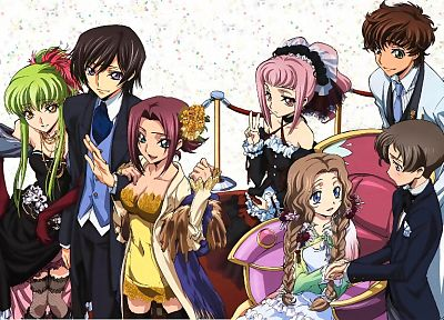 Code Geass, Kururugi Suzaku, Stadtfeld Kallen, Alstreim Anya, Lamperouge Nunnally, Lamperouge Lelouch, C.C., anime, Lamperouge Rolo - random desktop wallpaper