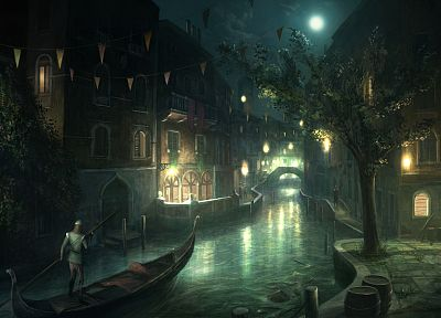 video games, cityscapes, Moon, ships, artwork, Assassins Creed 2, rivers, gondolas - related desktop wallpaper