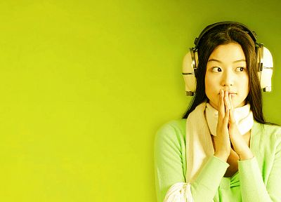 headphones, women, Asians, simple background, green background - related desktop wallpaper