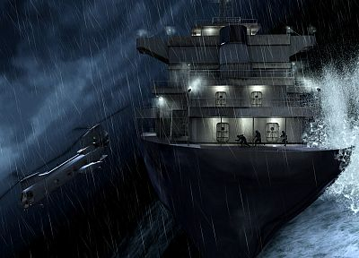 rain, helicopters, storm, Call of Duty, ships, vehicles, Call Of Duty 4: Modern Warfare - related desktop wallpaper